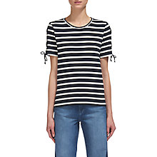 Buy Whistles Stripe Lacing Sleeve T-Shirt, White/Black Online at johnlewis.com