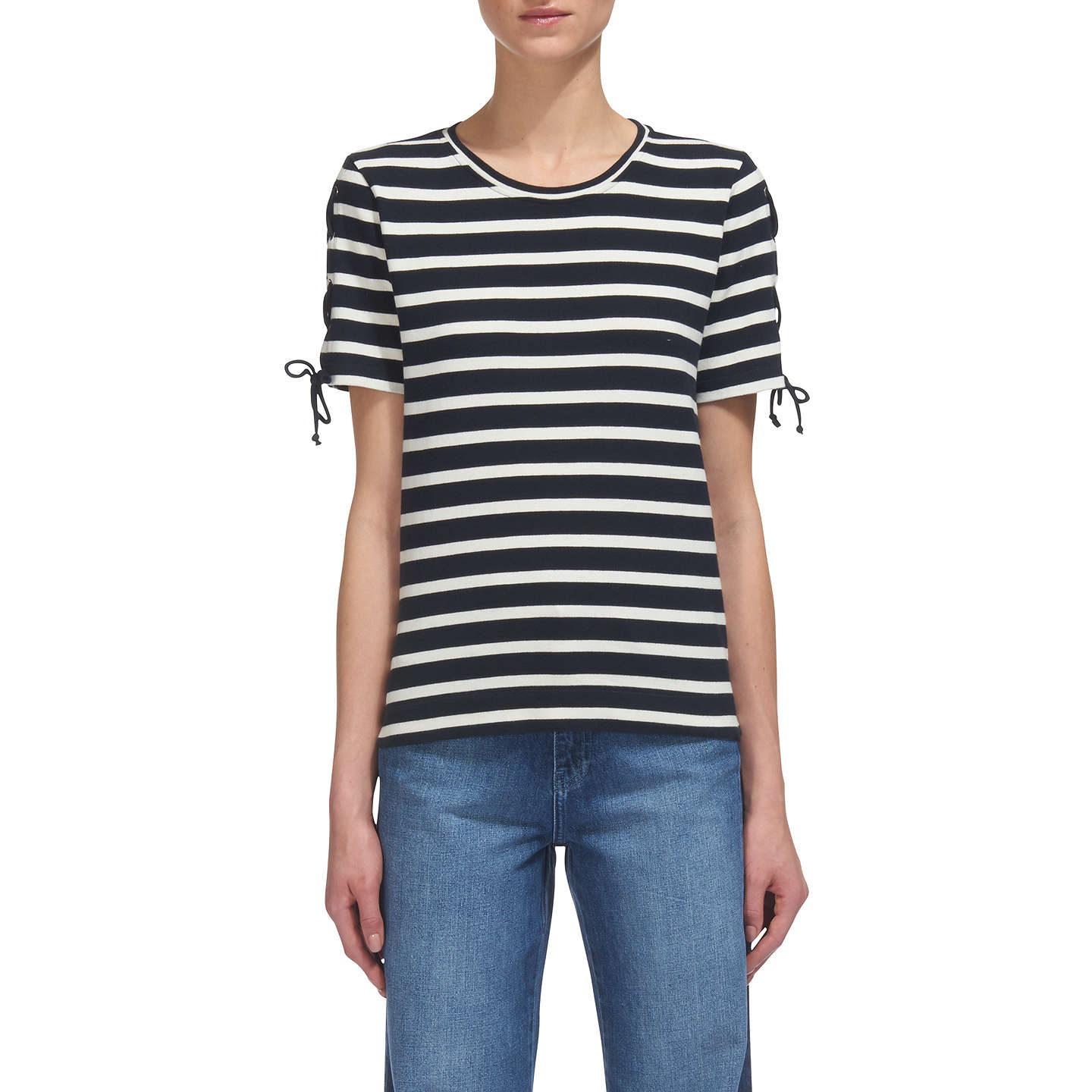 BuyWhistles Stripe Lacing Sleeve T-Shirt, White/Black, 6 Online at johnlewis.com