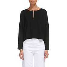 Buy Whistles Zip Front Relaxed Sweatshirt, Black Online at johnlewis.com