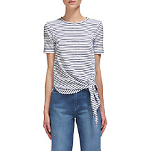Buy Whistles Stripe Side Tie T-Shirt, White/Navy Online at johnlewis.com