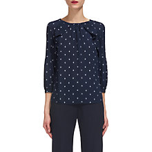 Buy Whistles Flur De Lis Print Blouse, Navy Online at johnlewis.com