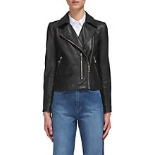 Buy Whistles Agnes Leather Biker Jacket, Black Online at johnlewis.com