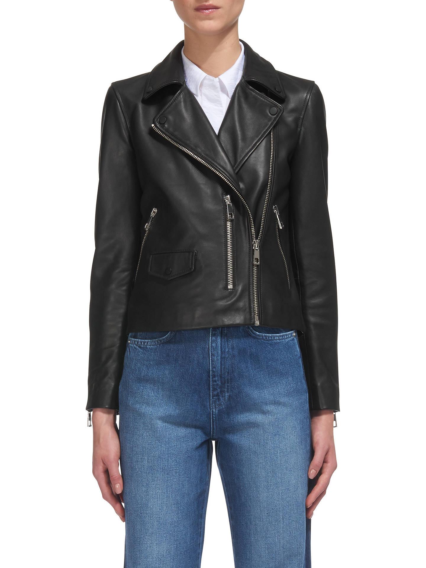 720bb1f48 Whistles Agnes Leather Biker Jacket, Black at John Lewis & Partners