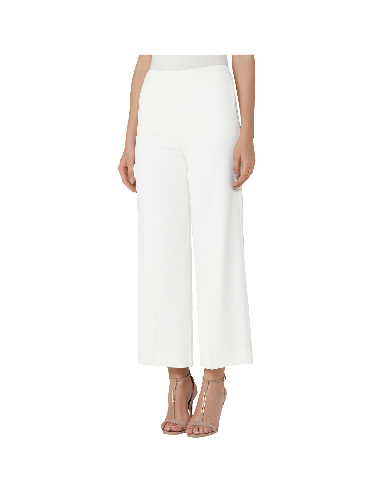 well known large discount best service Reiss Flynn Wide-Leg Cropped Trousers, Lily White at John Lewis ...