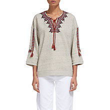 Buy Whistles Embroidered Open Neck Sweater, Grey Marl Online at johnlewis.com