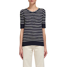 Buy Whistles Stripe Button Front Henley T-Shirt, Black/White Online at johnlewis.com