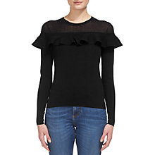 Buy Whistles Crop Frill Yoke Jumper, Black Online at johnlewis.com