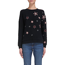 Buy Whistles Scatter Star Embroidered Sweater, Navy Online at johnlewis.com