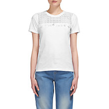 Buy Whistles Broderie Tassle T-Shirt, White Online at johnlewis.com