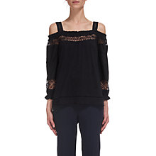 Buy Whistles Lace Insert Off Shoulder Top, Navy Online at johnlewis.com
