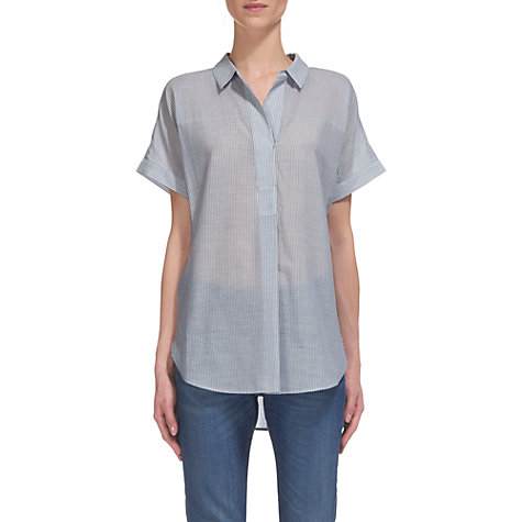 Buy Whistles Ellen Pinstripe Casual Shirt, Multi/Blue Online at johnlewis.com