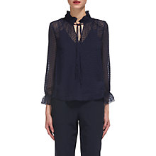 Buy Whistles Raquel Dobby Blouse, Navy Online at johnlewis.com