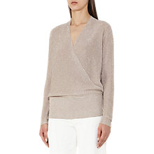 Buy Reiss Lee Metallic Wrap Knit Jumper, Blush Online at johnlewis.com