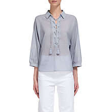 Buy Whistles Lace Up Front Stripe Shirt, Blue/White Online at johnlewis.com