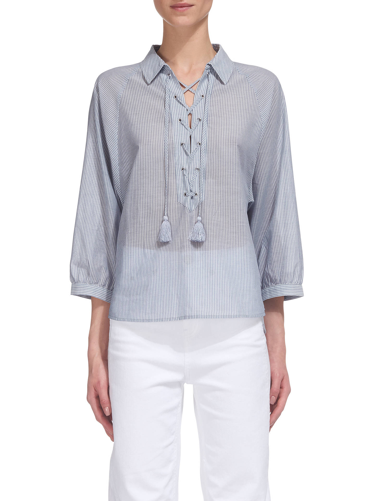 BuyWhistles Lace Up Front Stripe Shirt, Blue/White, XS Online at johnlewis.com