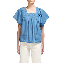 Buy Whistles Square Neck Denim Blouse, Denim Online at johnlewis.com