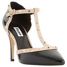 Buy Dune Cliopatra Studded T-Bar Court Shoes, Black Patent Online at johnlewis.com