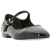 Buy Dune Anetta Mary Jane Flat Shoes, Patent Black Online at johnlewis.com