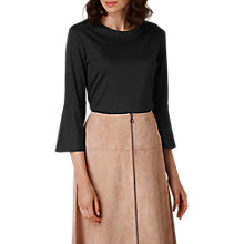 Buy L.K. Bennett Leon Fluted Sleeve Top, Black Online at johnlewis.com