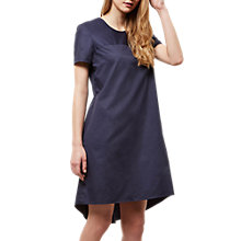 Buy Jaeger Curved Hem Cotton Dress, Navy Online at johnlewis.com