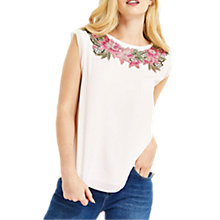 Buy Oasis Evagrace Lace Trim T-Shirt, White Online at johnlewis.com