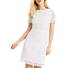 Buy Oasis Isla Lace Shift Dress, Cream Online at johnlewis.com
