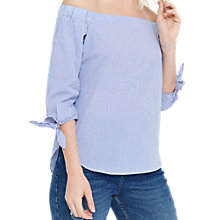 Buy Oasis Ticking Stripe Long Sleeve Bardot, Multi/Blue Online at johnlewis.com