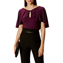 Buy Karen Millen Frill Back Jersey Top, Aubergine Online at johnlewis.com