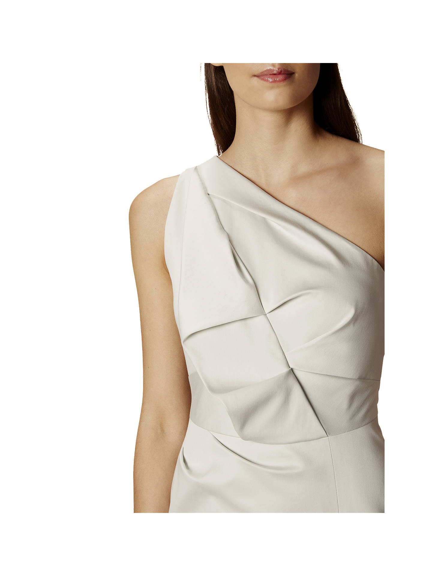 0d81ddeafd7a Buy Karen Millen One Shoulder Folded Dress, Pale Grey, 6 Online at  johnlewis.
