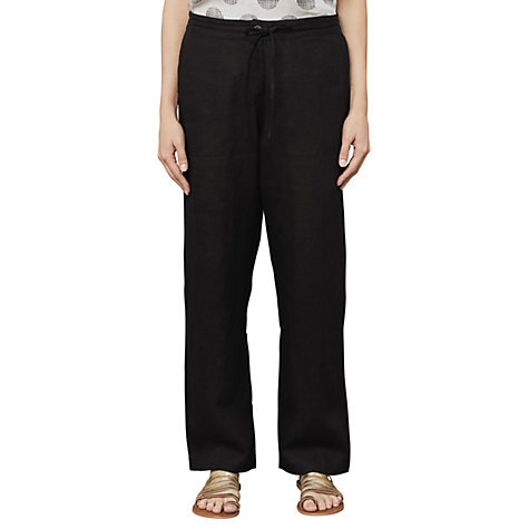 Buy East Linen Drawstring Trousers, Black Online at johnlewis.com