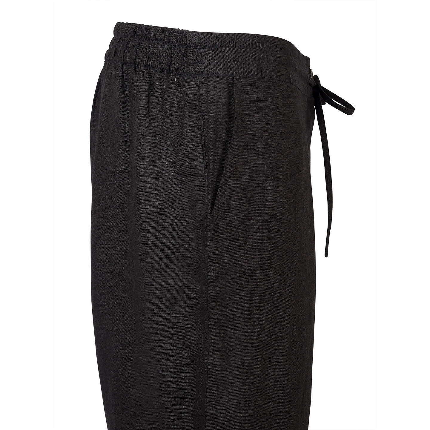 BuyEast Linen Drawstring Trousers, Black, 10 Online at johnlewis.com