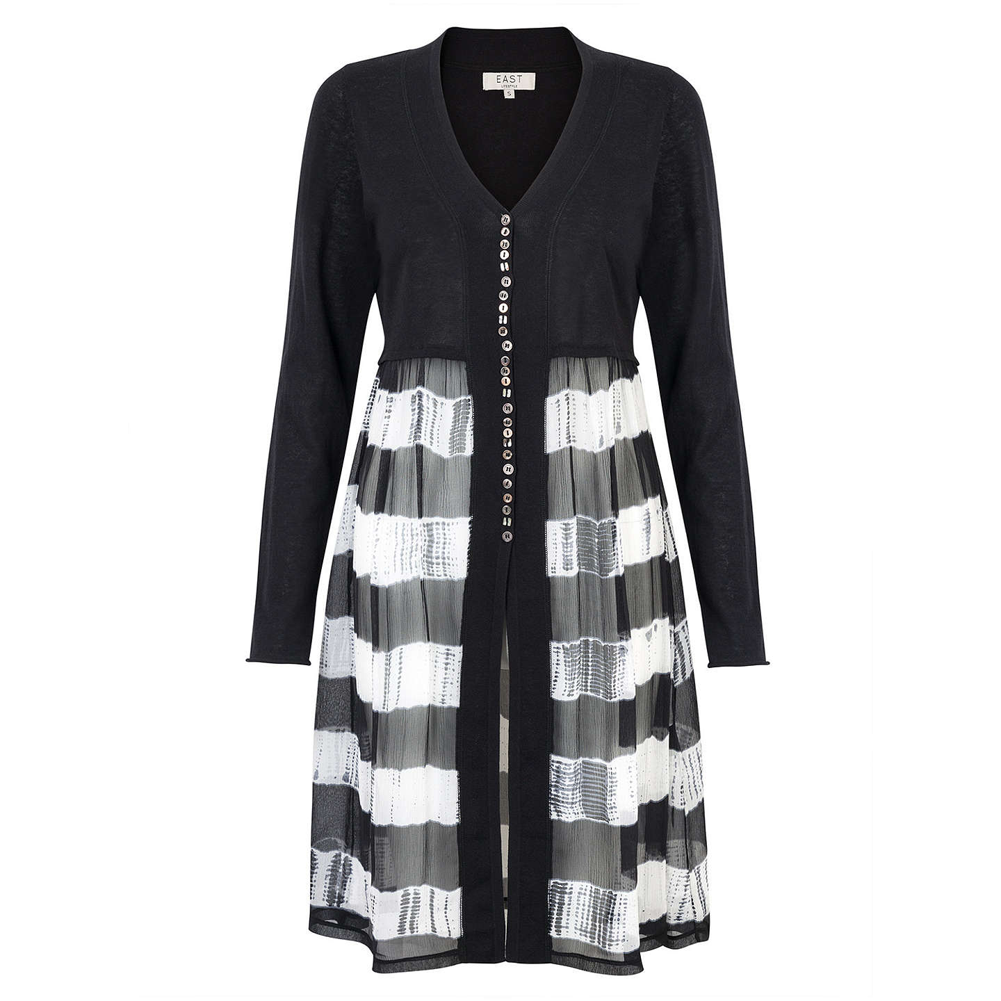 BuyEast Printed Combination Cardigan, Black, S Online at johnlewis.com