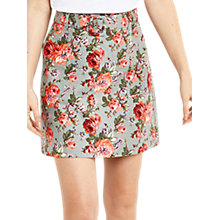 Buy Oasis Rose Texture Printed Skirt, Pale Blue/Multi Online at johnlewis.com
