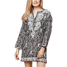 Buy East Chikan Paisley Print Kura Top, Black Online at johnlewis.com