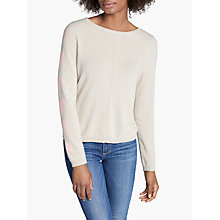 Buy Cocoa Cashmere Crew Neck Heart Sleeve Jumper, Oatmeal/Peach Online at johnlewis.com