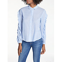 Buy Rails Lizzi Ruffle Sleeve Shirt, Bellflower/White Mini Stripe Online at johnlewis.com