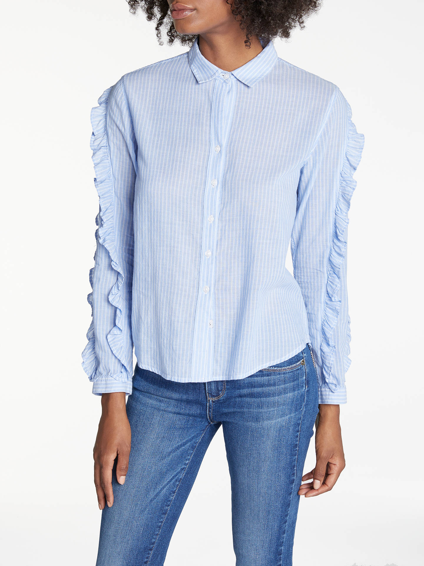 720e8953f932f7 Buy Rails Lizzi Ruffle Sleeve Shirt, Bellflower/White Mini Stripe, XS  Online at ...