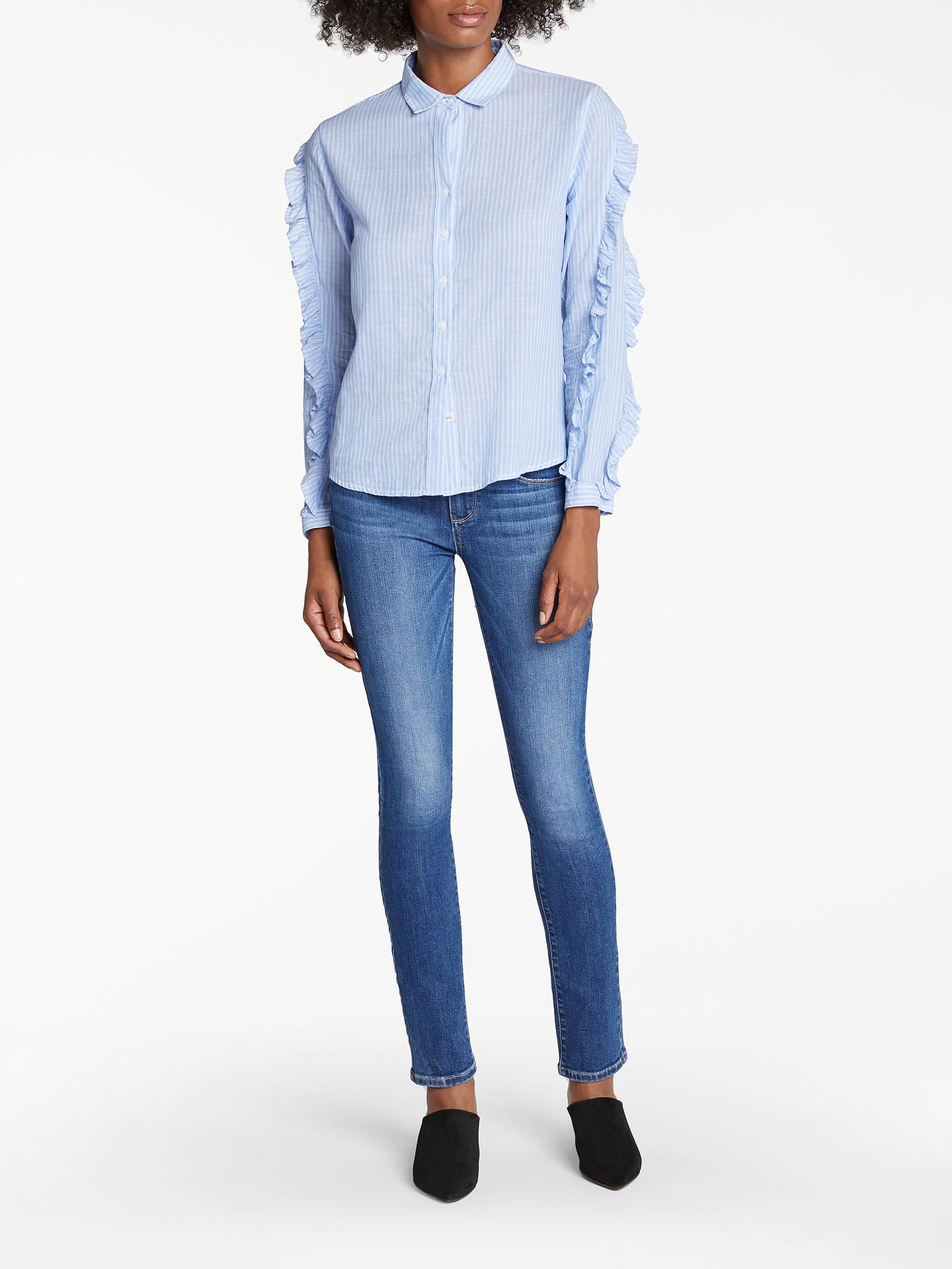 fcbabfa2a58b53 ... Buy Rails Lizzi Ruffle Sleeve Shirt, Bellflower/White Mini Stripe, XS  Online at ...