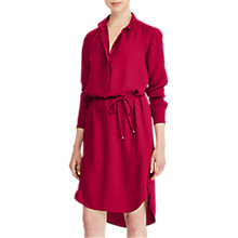 Buy Lauren Ralph Lauren Jenalnio Crepe de Chine Shirt Dress, Carmine Red Online at johnlewis.com