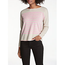 Buy Cocoa Cashmere Star Back Striped Crew Neck Jumper, Multi Online at johnlewis.com