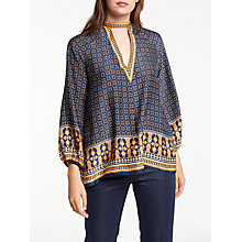 Buy Max Studio Choker Neck Printed Top, Navy/Camel Online at johnlewis.com
