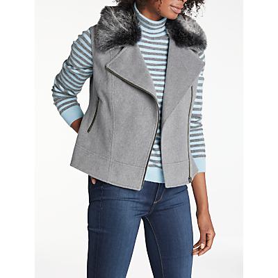 Helene For Denim Wardrobe Biker Faux Fur Gilet, Grey/Charcoal
