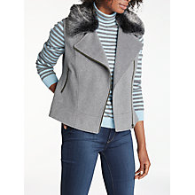 Buy Helene For Denim Wardrobe Biker Faux Fur Gilet, Grey/Charcoal Online at johnlewis.com