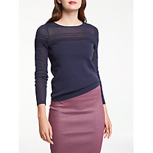 Buy Max Studio Long Sleeve Pin Tuck Knitted Jumper, Dark Navy Online at johnlewis.com