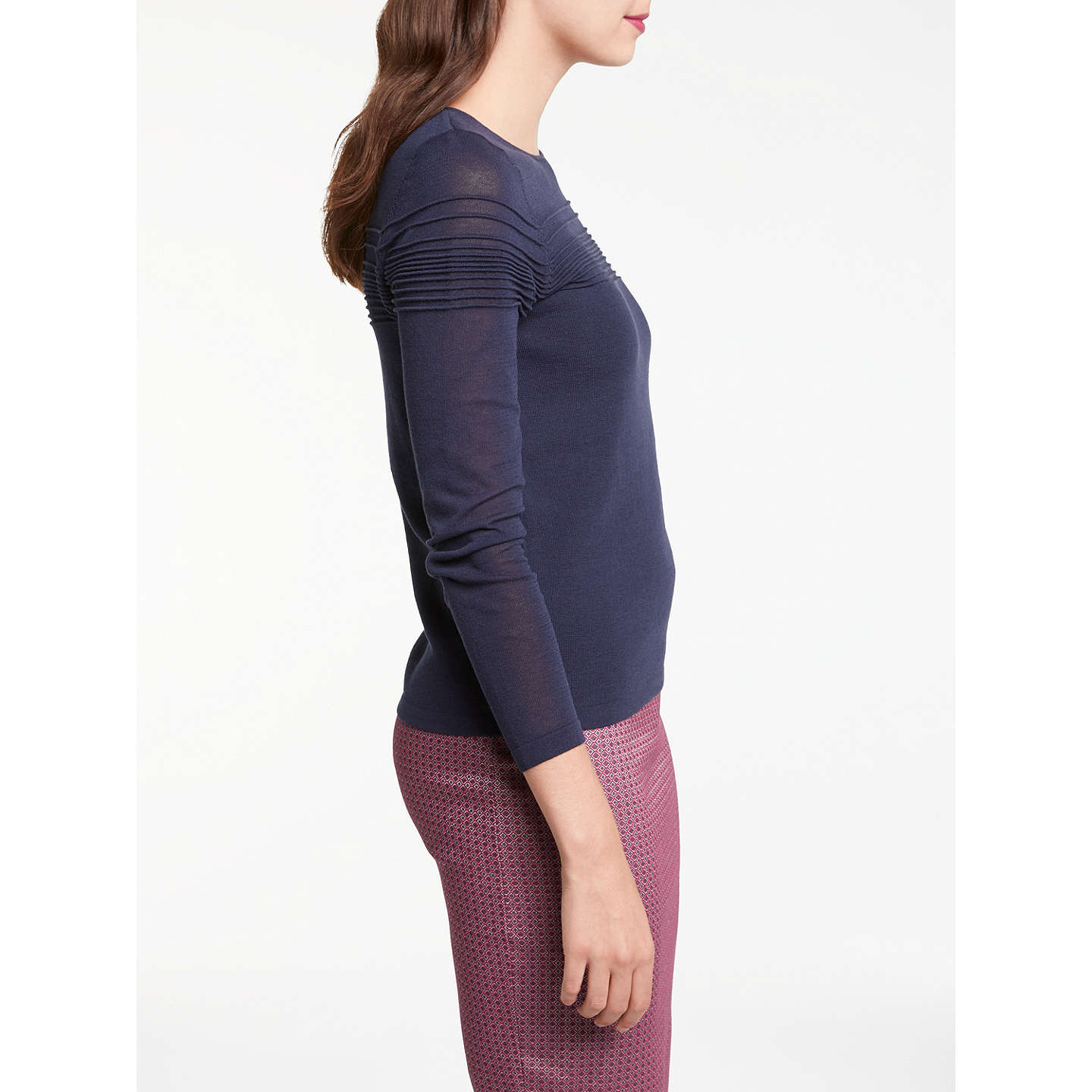 BuyMax Studio Long Sleeve Pin Tuck Knitted Jumper, Dark Navy, XS Online at johnlewis.com
