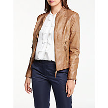 Buy Max Studio Leatherette Zip Through Jacket, Cognac Online at johnlewis.com