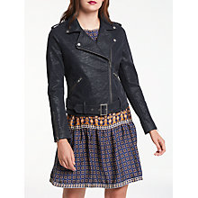 Buy Max Studio Suedette Biker Jacket, Dark Navy Online at johnlewis.com