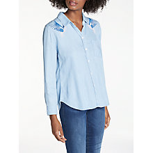 Buy Rails Ingrid Embroidered Shirt, Light Blue Online at johnlewis.com
