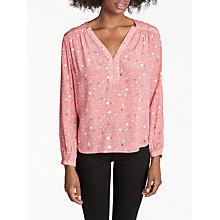 Buy Pyrus Florence Silk Blouse, Starry Night Coral Online at johnlewis.com