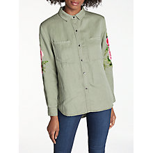 Buy Rails Marcel Embroidered Shirt, Sage/Pink Floral Patches Online at johnlewis.com